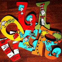 Hanging Wooden Hand Painted Dr Seuss Letters by CuteNCustom