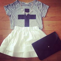 Shimmer Cross Tee - Furor Moda - Tops - Dresses - Jackets - Vintage