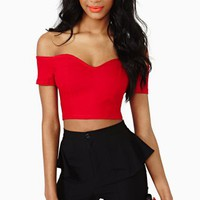 Frida Crop Top - Red