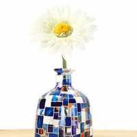 Hand Painted &quot;Patron&quot; Bottle Glass Bottle White Yellow Blue Flowers Abstract Retro Home Decor Decorative Glass Art