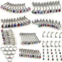 Imixlot® 10Styles 100pcs Stainless Steel Belly Tongue Eyebrow Lip Ear Barbell Piercing