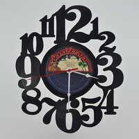 Retro Wall Clock vinyl record album (artist is KISS)
