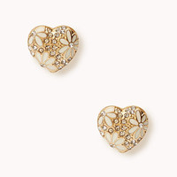 Flowered Heart Studs | FOREVER 21 - 1030187489