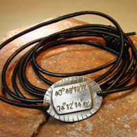 Sterling silver latitude longitude leather wrap bracelet with your own personalized coordinates