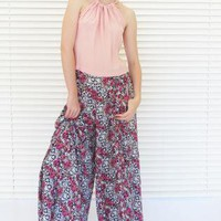 Pants Wide Leg High Waist Floral Print