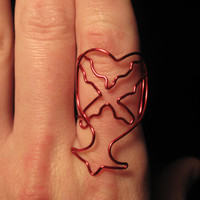 Wire Wrapped Kingdom Hearts Symbol MADE to ORDER Adjustable Ring