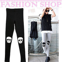 Hot New Women Skull Leggings Pantyhose Pant Lady stretch cotton Tight 2 Colors
