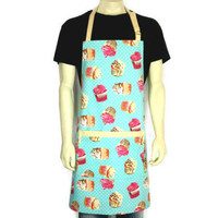 Cupcake Apron , Professional Chef , Restaurant , Bakery , Bright Aqua-Blue and Yellow