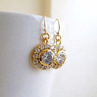 Wedding Jewelry Bridal Earrings Round Teardrop Cubic Zirconia CZ Gold Filled Vintage Inspired Stud Earrings - Cynthia E8G