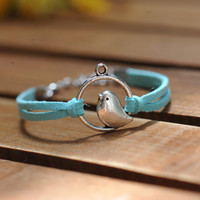 Bird braceletretro silver  lover birds blue  by fantasticgift