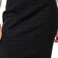 NEW -  ESSENTIAL FRINGED BOUCLE SKIRT - BLACK - SIZE 4
