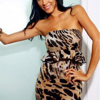 Leopard Print Peplum Bodycon Dress