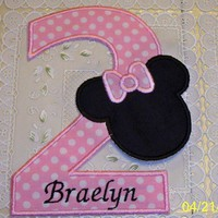 Light pink birthday number 2 with Minnie applique iron on patch