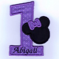 Birthday number one in lavender/purple with minnie iron on patch