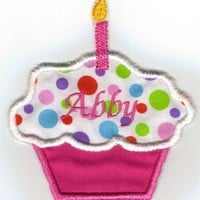 Personalized hot pink with dots 1st birthday cupcake iron on patch