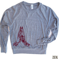 Womens NAMASTE Tri-Blend Pullover - american apparel S M L (6 Color Options)
