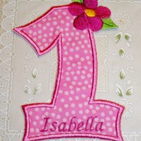 1st birthday personalized number one with flower iron on patch