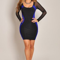 Sexy Blue and Black Long Sleeve Mesh Silhouette Dress