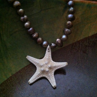 Seashell Necklace - White Knobby Starfish and Pearl necklace- Starfish Necklace, Pearl and Starfish Necklace
