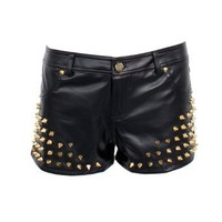 Ladies Gold Color Studded Black Faux Leather Shorts: Clothing