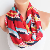 Infinity Scarf Loop Scarf Circle Scarf Cowl Scarf Red Aztec Pattern Scarf
