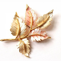 Large Vintage Soft Pastel Pink and White Gold Leaf Brooch Pin Leaf Gold Tone Vintage Antique Jewelry