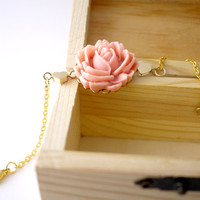 Pastel Peach Rose Cabochon with Little Gold Hearts Bracelet