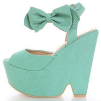 Winni Bow Mint Platform Wedge Sandals
