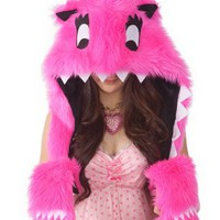 Happy Hoodie Friends Hot Pink Faux Fur Animal Monster Hat with Hood and Scarf - Cupcake: Clothing