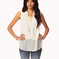 Chiffon-Trimmed Top