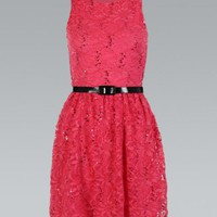 Coral Belted All Over Lace Flared Skater Dress