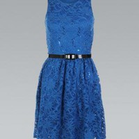Royal Blue Belted All Over Lace Flared Skater Dress