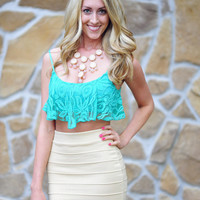 Fancy In Lace Crop Top: Teal | Hope's