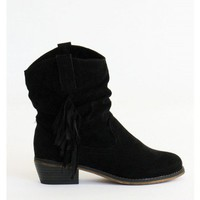 Emberald Suede Fringe Cowbow Boots
