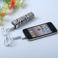 Fashion Zebra-stripe Design 2500mah Mobile External Power Battery Charger for Various Mobile Phones