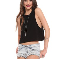 Hailey Crop Tank - Black - Clothes | GYPSY WARRIOR