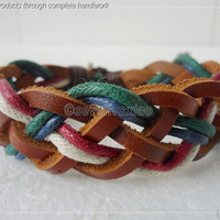 Leather and Rope Woven Bracelets Adjustable 56S by sevenvsxiao