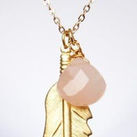 rose stone feather necklace