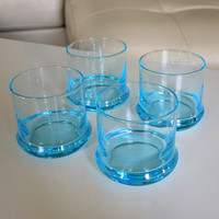 4 ICE BLUE GLASSES Vintage Heavy Weight Lowball Rock Glasses Mid Century Serving Pieces Bar, Barware, Dining, Entertaining, Drinking, Drinks