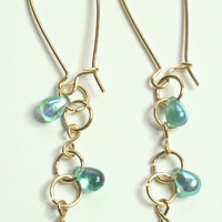 Infinity Link Teardrop Blue Green Gold Dangle Earrings