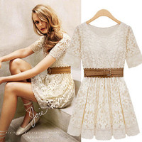 Beige Lace Dress with Belt #124
