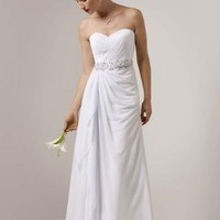 Chiffon Gown with Side Drape and Beaded Detail - David's Bridal - mobile