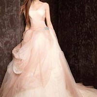 Ombre Tulle Ball Gown with Pick Up Skirt - David's Bridal - mobile