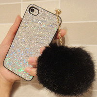 Furry Rhinestone Headphone Dustproof Plug for