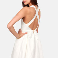 Marilyn Mon-Whoa! Cutout Ivory Dress