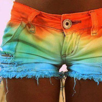 Dip Dyed Cut Off Shorts Orange/Yellow/Green/Blue by SheaBoutique
