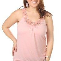 plus size bead and rhinestone neckline tank top with banded bottom - 1000045119 - debshops.com