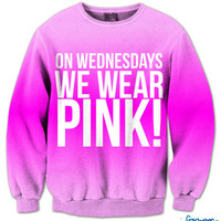 On Wednesdays We Wear Pink Fresh Top Crew Neck | fresh-tops.com