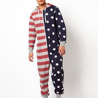 New Look Stars & Stripes Print Onesuit