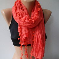 Pompom scarf ...Coral scarf...Cotton fabric...summer scarf